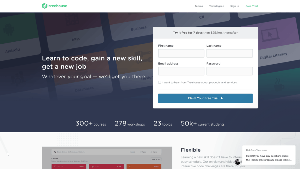 Screenshot of main page of teamtreehouse website.