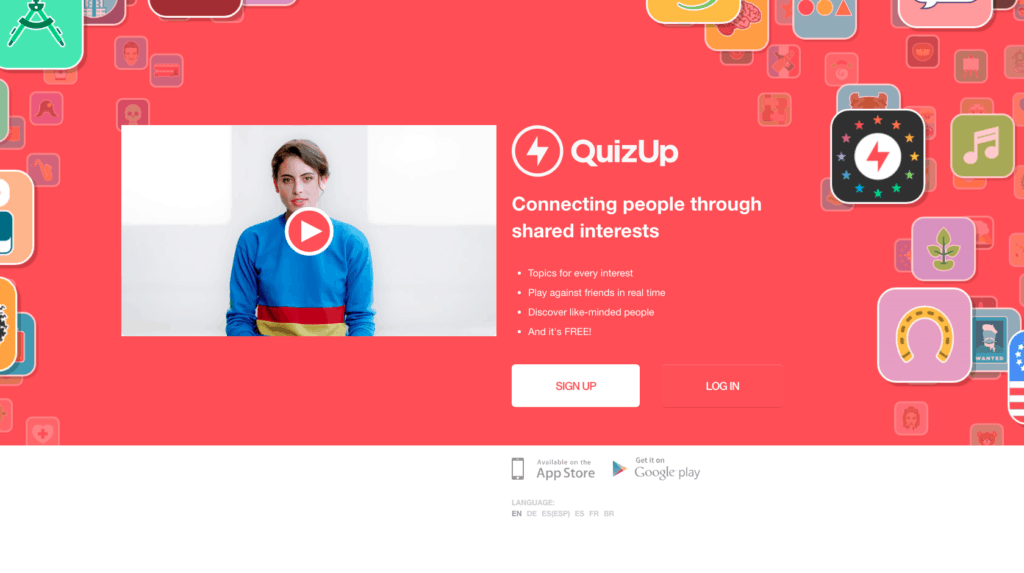 Screenshot of main page of QuizApp.