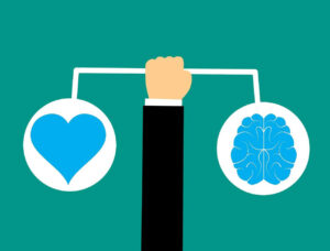 Image that shows equilibrium between mind and heart. Emotional Intelligence in cancer treatment article.