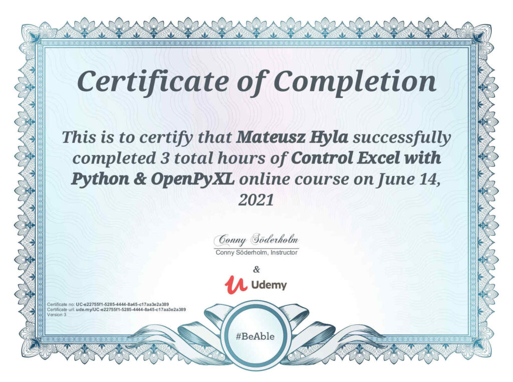 Control Excel with Python and OpenPyXL Udemy Certificate Course by Conny Soderholm